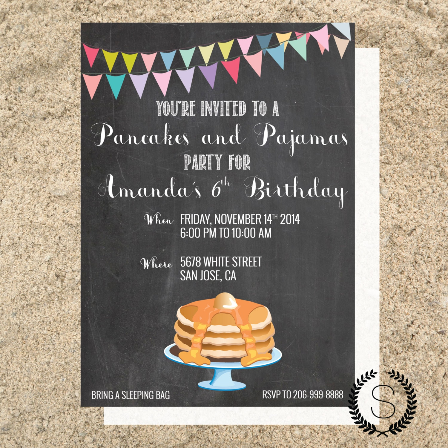 Pancakes & Pajamas Birthday Party Invitation Birthday Party