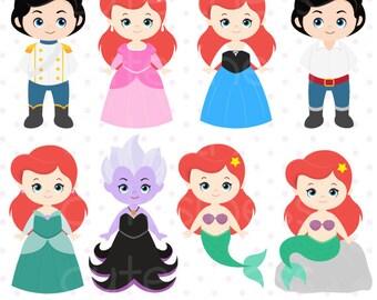 Little Mermaid Clipart, Mermaid Clipart, Princess Mermaid clipart