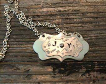 Joy double plaque necklace