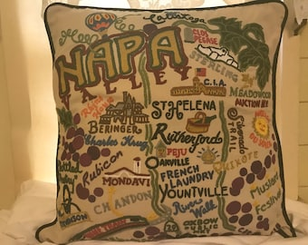 CatStudio Hand Embroidered Pillow! Napa Valley!