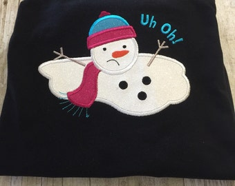 Melting Snowman Personalized Shirt