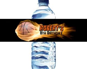 Basketball Water Bottle Label Digital File  - Basket Ball water bottle label DIY - Flaming Basketball Water Bottle label