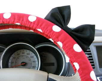 Steering Wheel Cover Bow, Minnie Mouse Inspired Red Polka Dot Steering Wheel Cover with Black Bow, Disney Red Polka Wheel Cover Bow BF11019