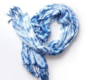 Shibori Indigo Scarf - Shibori Pashmina- Boho Scarf - Summer Scarf - Boho Wrap - Tie dye Scarf