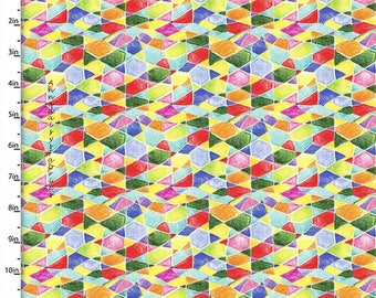 Colorful Geometric Fabric, Mosaic Quilt Fabric, Quilters Palette Color Me Fun 12721 Multi, Geometric Quilt Fabric, Cotton