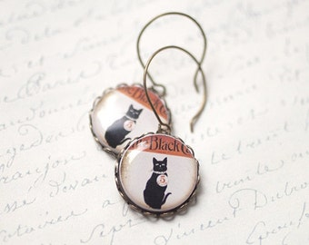 Black cat earrings  - Vintage style earrings - Gat lover gift - Small circle earrings - Halloween earrings (E067)