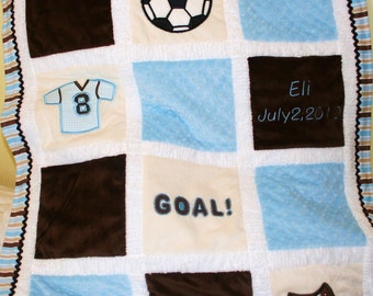 "Minky Appliqued Baby Blanket  ""Soccer Lovers"""