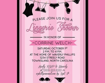 Lingerie Shower Party Invitation DIGITAL FILE