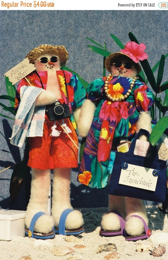 ON SALE Mr and Mrs I Love Snow - Mailed Cloth Doll Pattern Comical Beach Tourist Snowman Couple