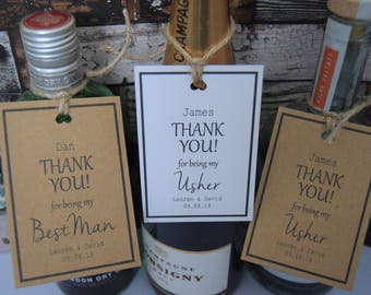 Personalised Bottle Tags | Thank You Bottle Tags | Best Man Thank You | Usher | Groomsman | Father of the Bride of the Groom | Wedding Tags