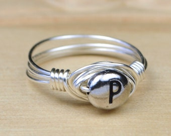 Pewter Letter P Monogram Initial Wrapped Ring- Sterling Silver, Yellow or Rose Gold Filled Wire-Size 4 5 6 7 8 9 10 11 12 13 14 1/4 1/2 3/4