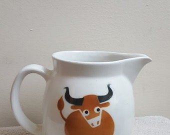 "Vintage Arabia Finland Pottery 5"" Pitcher Brown Bull Kaj Frank Steer"