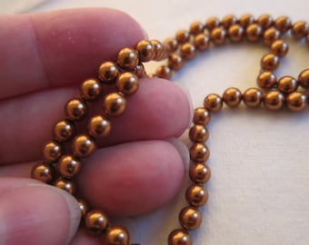 5mm, Swarovski, Art 5810, Round Crystal Pearls, Crystal Copper Pearl, Discontinued - Available in 1/4, 1/2 & Full (100 Bead) Strand Lengths
