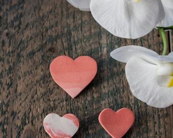 Porcelain heart brooch - Ceramic heart brooch -  Gradient heart - Marble effect - Minimalist brooch - Gift for friend - Heart jewellery