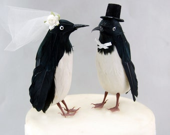Top Hat Penguin Wedding Cake Topper: Funny, Bride & Groom Love Bird Cake Topper