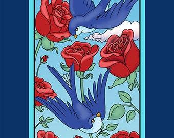 Swallows and Roses Greeting Card (single)