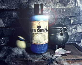MOON SHINE Shower Gel Moonshine Horror Goth Soaps Magical Potions Witchy Galaxy Luna Lunar Blue Moonlight Crescent Full Glitter Lustre Dust
