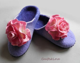 Boiled wool slippers Felted slippers Womens felt house shoes with soles Pink roses felt slippers Shoe slippers House shoes
