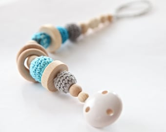Pacifier clip, dummychain holder, Teething toy with crochet wooden beads. Rattle for baby.