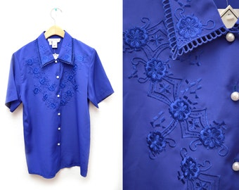 80s Cobalt Blue Button Down Blouse Floral Embroidered Women's NOS Dead Stock Small Short Sleeved