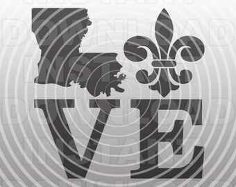 Louisiana Love SVG File,Fleur De Lis svg,Mardi Gras SVG,nola svg -Vector Art Commercial/Personal Use- Cricut,Silhouette,Cameo,Iron on Vinyl