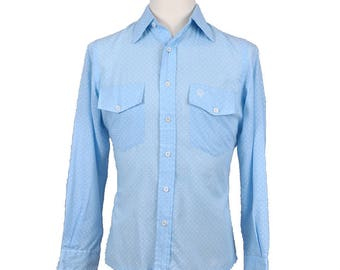 ON SALE Vintage Ultra Rare 1970's CHRISTIAN Dior Baby Blue Shirt Mens M-Medium White Polka Dots