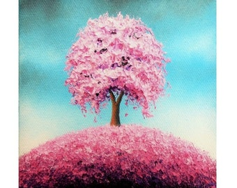 Print of Pink Tree Painting, Photo Print of Cherry Blossom Tree Art, Colorful Art Contemporary Art Poster, Cottage Chic Pretty Tree Picture