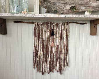 Taupe & Tassels Yarn Wall Hanging