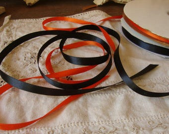 Black and orange satin ribbon 6 yards Halloween ribbon party favor crafts supplies package ties gift wrapping floral ribbon