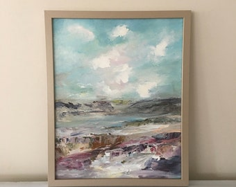 Beach Landscape - Neutral Colors- 20 x 16 Framed- Tonal Landscape- Beach- Rocky Shore- atmospheric - Framed