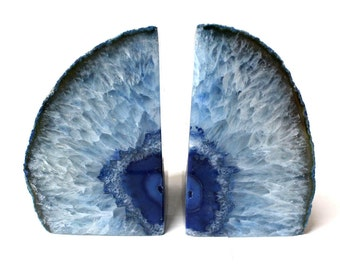 Blue Agate Bookend Pair - 3 to 6 lb - Geode Bookend - Home Decor - Crystal and Stones BKE