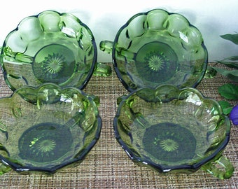 Vintage 1970's ANCHOR HOCKING Glass – FAIRFIELD Pattern – Set of Four Handled Nappy or Dessert Bowls, Candy or Nut Dish - Avocado Green -