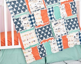 Tribal Nursery Baby Hunting Quilt - Orange / Navy / Mint - Teepee Nursery - Baby Hunting Quilt- Woodland Blanket - Native American Quilts