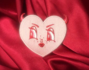 Devil Heart Embroidered Iron On Patch