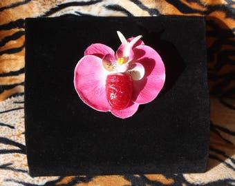 Tiki Orchid Hairflower Hairclip Burlesque PinUp Showgirl Rose Pink Fuschia Glitter