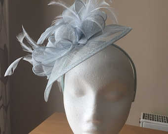 Powder Baby Blue Fascinator and Feather Fascinator on a hairband, races, weddings, special occasions, Ascot, Mother of the Bride