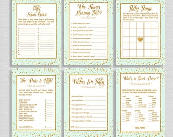 Mint & Gold Baby Shower Games Package, Six Baby Shower Games Bundle, Mint Gold Glitter Confetti, Neutral, INSTANT PRINTABLE
