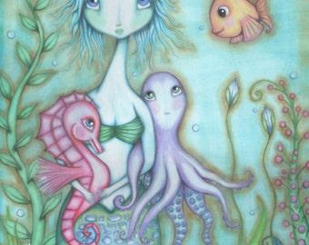 An Underwater Dream -  11x14 Original Illustration