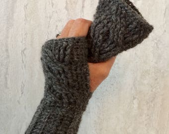 Cabled Hand Warmers, Crochet Cabled Gloves, Cabled Fingerless Gloves, Texting Gloves, Winter Gloves, Wool Gloves, Wool Fingerless Gloves