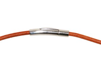 Leather cord necklace, 3mm, orange/brown with stainless steel snap clasp