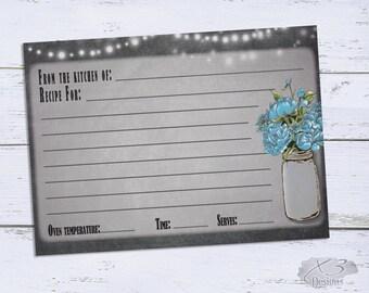 Recipe Card, Bridal Shower Recipe Card, Printable Recipe Card, Floral Recipe Card, Recipe Card Printable, Instant Download