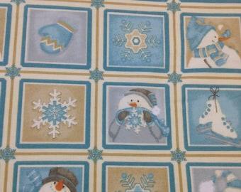 Winter Christmas Snowman fabric, I Still Love Snow Flannel  Multi Small Blocks, beige blue cream,by Henry Glass, coordinate fabrics pictured