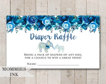 Elephant Diaper Raffle Insert, Watercolor Elephant Diaper Raffle, Elephant Raffle, Shower Printable, Indigo Flower, Boy Baby Shower