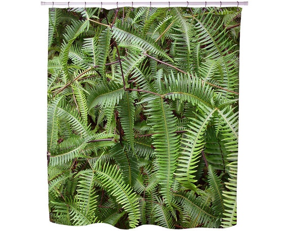 FERNS SHOWER CURTAIN Bathrooms Decor Tropical Fabric