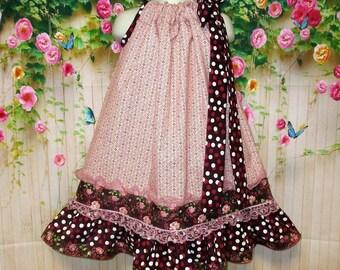 Girls Dress 4T/5 Rose Cream Dots, Stripes, Floral Pillowcase Dress, Pillow Case Dress, Sundress, Boutique Dress
