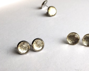 Gold Glitter Stud Earrings // Gold chrome foil metallic, reflective, sparkly earrings, surgical steel posts, tarnish resistant. Choose Size