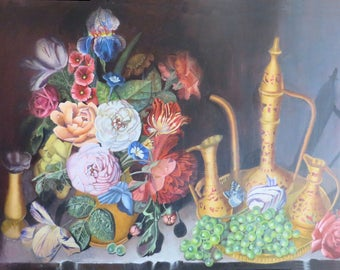 Floral Still Life Painting, Fine Art, Flower Painting Original Canvas in Acrylic