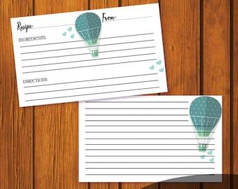 Wedding Recipe Card / Recipe Card / Bridal Shower Recipe Card / Hot Air Balloon Recipe Card / Instant Download / 3x5 Recipe