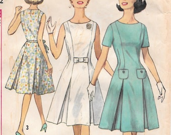 Bust 32-1960's Misses' Dress Simplicity 4920 Sz 12