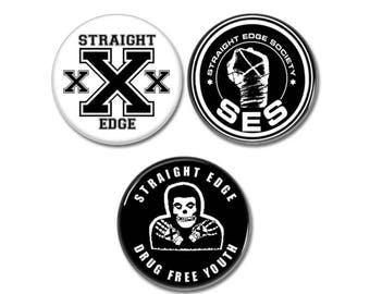 Boutons de bord droite lot de 3! (badges, épingles, botones, punk, 25mm, des médicaments gratuitement, ses, xxx)